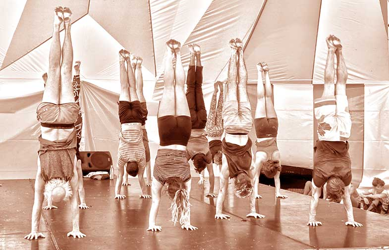 handstand training at The Lunar Circus Summer School In the Lunar Big Top- Lunar Circus venue for hire